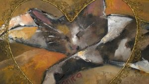 My cat in a heart - Oil - framed - Anita McLaughlin