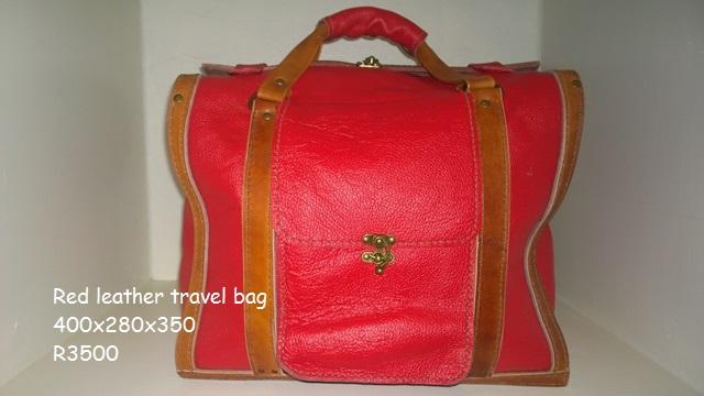 Handmade red leather weekend bag R3500